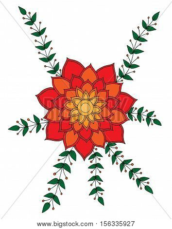 Abstract orange with red flower with leaves for adult or child coloring book and pages. Mono color black line art element for design.