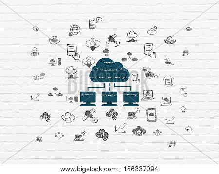 Cloud networking concept: Painted blue Cloud Network icon on White Brick wall background with  Hand Drawn Cloud Technology Icons