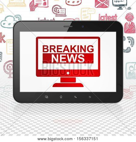 News concept: Tablet Computer with  red Breaking News On Screen icon on display,  Hand Drawn News Icons background, 3D rendering