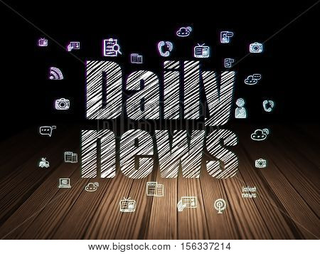 News concept: Glowing text Daily News,  Hand Drawn News Icons in grunge dark room with Wooden Floor, black background