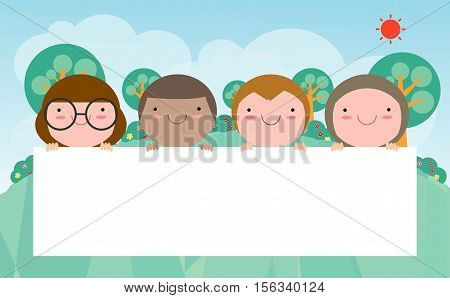 kids peeping behind placard, Cute little children on background,Vector Illustration