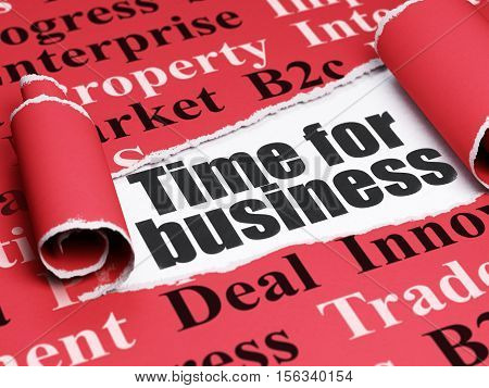 Business concept: black text Time for Business under the curled piece of Red torn paper with  Tag Cloud, 3D rendering