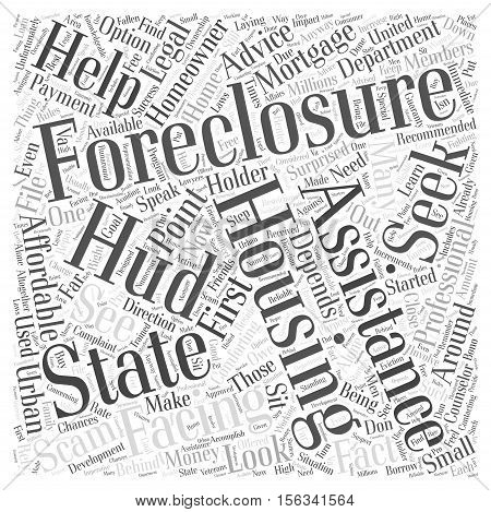 Seeking Professional Foreclosure Assistance and Advice word cloud concept