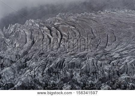 Glacier in Nepal mountains, Manaslu mountain peak