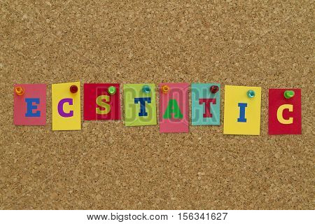 Ecstatic word written on colorful sticky notes pinned on cork board.