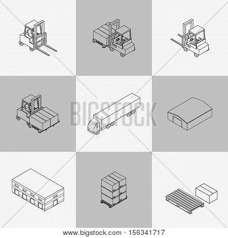 Vector illustration. Set of contour icons of the warehouse. Outline hangar truck forklift pallets with boxes. Isometric 3D