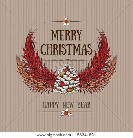 Vector hand drawn Christmas design with natural winter elements. Christmas greeting card design.