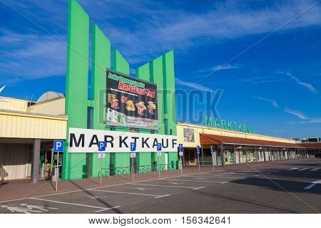 BURG / GERMANY - NOVEMBER 13 2016: Entry of a Marktkauf a discount supermarket chain based in Germany. Marktkauf GmbH is one of the largest German trading companies and part of the Edeka Group.