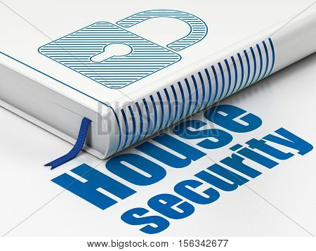 Safety concept: closed book with Blue Closed Padlock icon and text House Security on floor, white background, 3D rendering