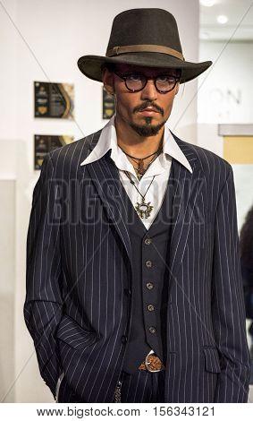 London, the UK - May 2016: Johnny Depp wax figure in Madame Tussaud's museum