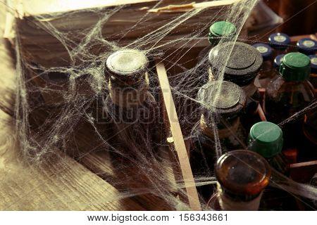 Vintage glass bottles with spiderweb, closeup