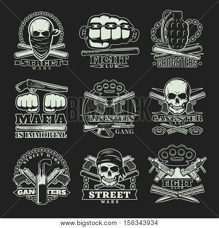 Nine emblems set with gangsters and mafia street wars symbolics weapons skulls knuckle duster and captions vector illustration