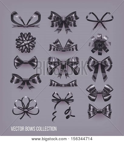 Set of black cartoon style bow knots and tied ribbons. Vector decoration elements collection