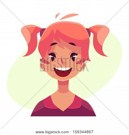 Teen girl face, wow facial expression, cartoon vector illustrations isolated on yellow background. Red-haired girl emoji face surprised, amazed, astonished. Surprised, wow face expression