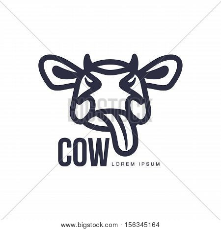 Funny cow head logo template, cartoon vector illustration on white background. Cute, showing tongue, funny front view cow head for dairy, beef, farm products logo design