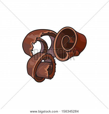 Dark chocolate shaving, curl, spiral for cake decoration, sketch style vector illustration isolated on white background. Chocolate confectionary ingredient, hand drawn chocolate shaving