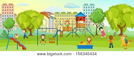 Playground with children composition with children and adults relax in the park on playground vector illustration