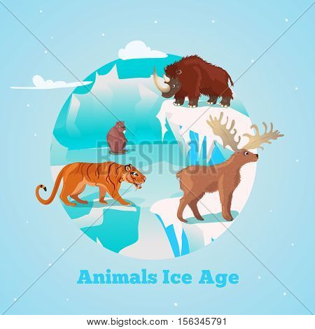 Beasts ice age round design with rhino tiger and deer giant beaver in frozen wildlife vector illustration