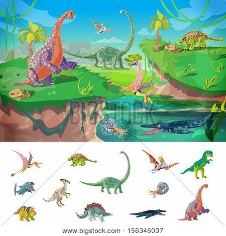 Animals jurassic concept with wildlife design and set of birds dinosaurs and underwater beasts isolated vector illustration