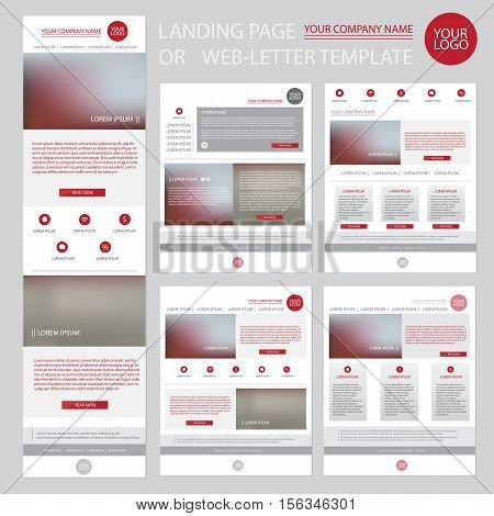 Modern website design template. Clear landing page or web letter for e-mail