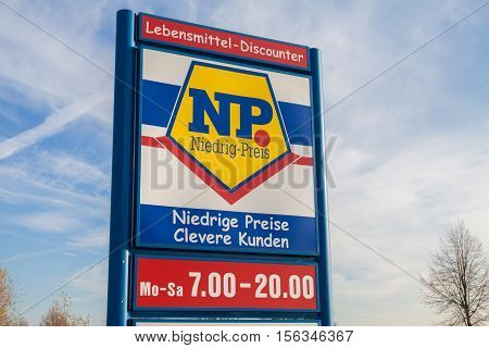 BURG / GERMANY - NOVEMBER 13 2016: Branch from NP supermarket chain. Niedrig-Preis market is a food discounter with the dissemination area in northern Germany.