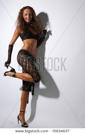 Sexy nighclub dancer looking at the camera