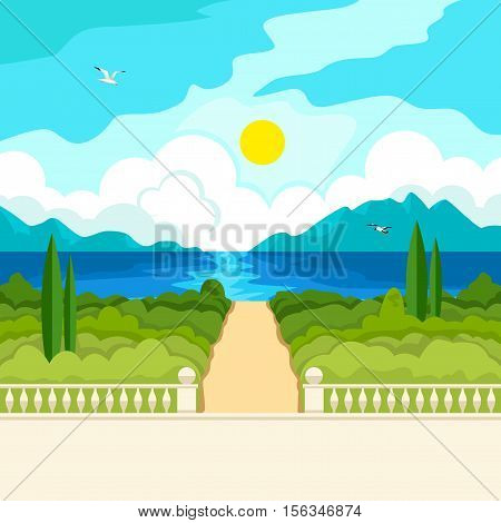 Southern landscape. The stone parapet and railing with a handrail. Figured columns balustrades. Yellow walkway to the sea. Solar patches of light on water. Green trees and cypresses. In the distance, mountains and clouds.