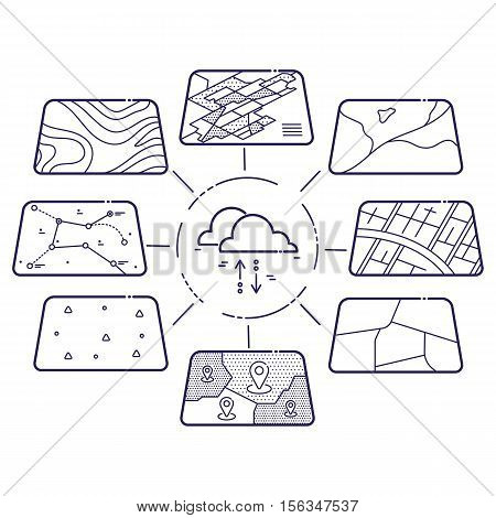 Vector Illustration of GIS Spatial Data Layers Concept for Infographic, Cloud Data Storage, Geographic Information System, Icons Design, Liner Style