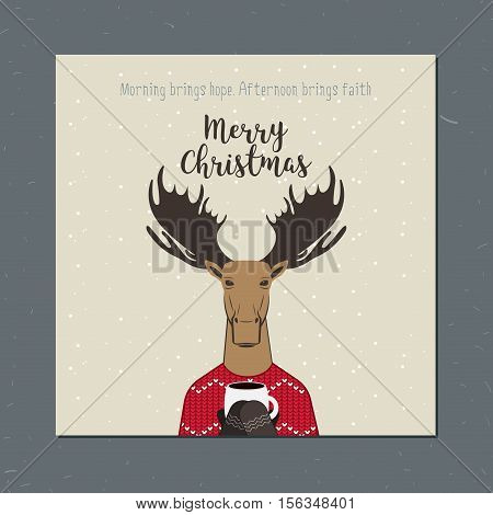 Greeting card: Merry Christmas. Creative hand drawn card with moose. Vector cartoon illustration. Christmas elk
