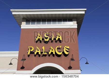 Spencer Wisconsin - November 13 2016 Aisia Palace sign on a restaurant store front
