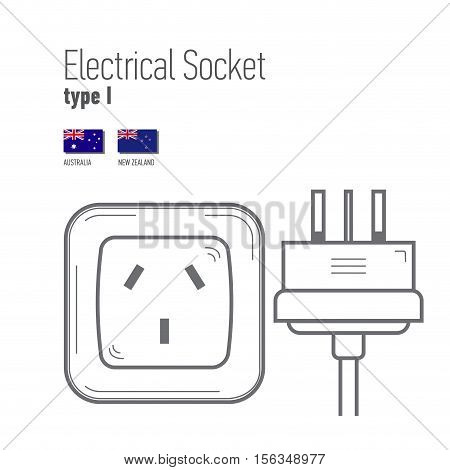 Switches and sockets set. Type I. AC power sockets realistic illustration. Different type power socket set vector isolated icon illustration for different country plugs.