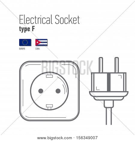 Switches and sockets set. Type F. AC power sockets realistic illustration. Different type power socket set vector isolated icon illustration for different country plugs.