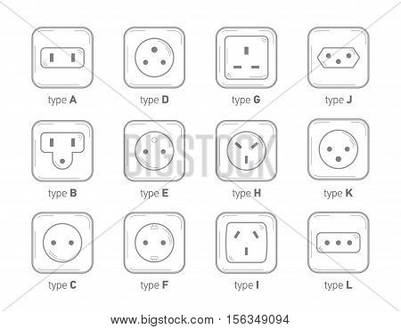 Different type power socket set vector isolated icon illustration for different country plugs. Power socket - World standards icons set. World socket types collection