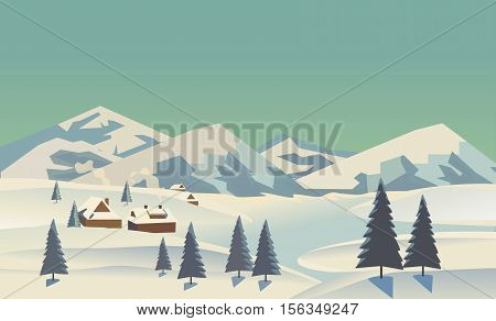 Winter nature landscape. Mountain river in snowy glacier valley. Houses on bank under snow. Lake view in hills pine trees. Countryside rural scene background. Cartoon outdoors vector Illustration
