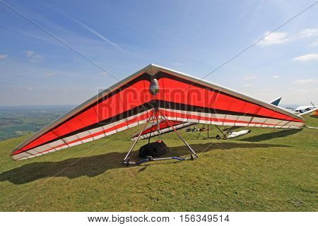 Hang Gliders ready to fly on a hill