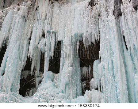 Beautiful winter landscape of frozen waterfalls in the Gorge of Chegem the Republic of Kabardino-Balkaria Russia.