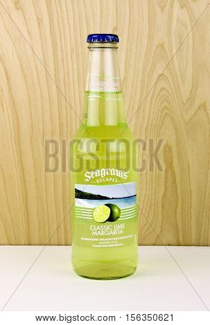 Spencer Wisconsin - November 13 2016 Bottle of Seagram's Escapes Classic Lime Margarita Seagram's was founded in Canada in 1857