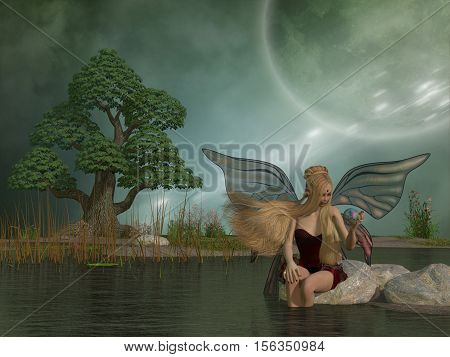 Fairy Daina by Pond 3D Illustration - A woodland fairy plays with her pet dragon in a magic ball while sitting by a marsh pond.