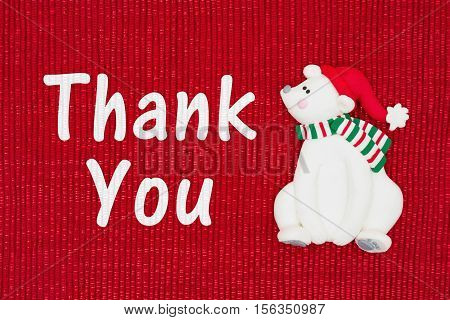 Christmas Thank You message Red shiny fabric with a Santa polar bear with text Thank You