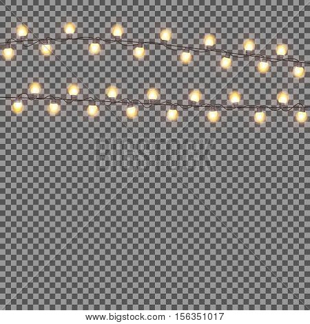 Shining Garland with Light Bulb on Transparent Background. Christmas, Winter and New Year Background. Realistic Vector illustration for Your Design EPS10