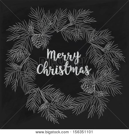 Hand-drawn Merry Christmas card on chalkboard. Vintage Design for Christmas card or invitation. Vector frame with hand drawn conifers sketch on chalkboard. Merry Christmas and Happy New Tear Template