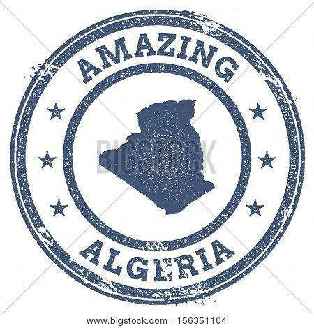 Vintage Amazing Algeria Travel Stamp With Map Outline. Algeria Travel Grunge Round Sticker.
