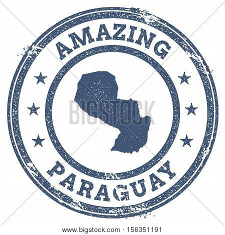 Vintage Amazing Paraguay Travel Stamp With Map Outline. Paraguay Travel Grunge Round Sticker.