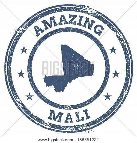 Vintage Amazing Mali Travel Stamp With Map Outline. Mali Travel Grunge Round Sticker.