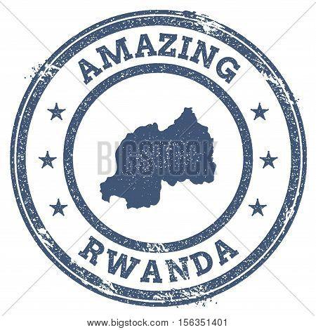 Vintage Amazing Rwanda Travel Stamp With Map Outline. Rwanda Travel Grunge Round Sticker.