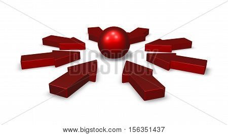 arrows and sphere on white background - 3d rendering