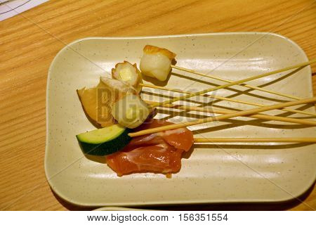 Japanese Cuisine Chicken Satay On A Plate