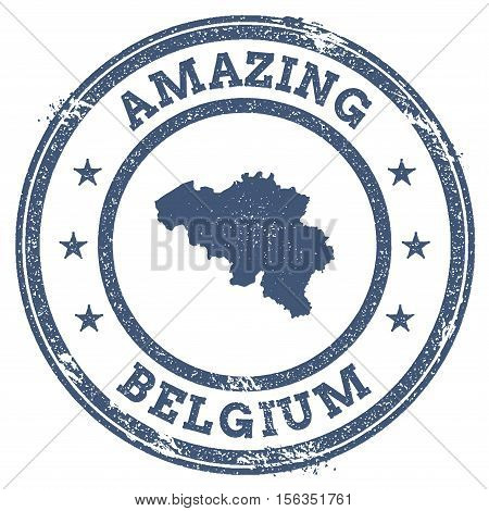 Vintage Amazing Belgium Travel Stamp With Map Outline. Belgium Travel Grunge Round Sticker.