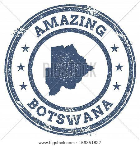 Vintage Amazing Botswana Travel Stamp With Map Outline. Botswana Travel Grunge Round Sticker.