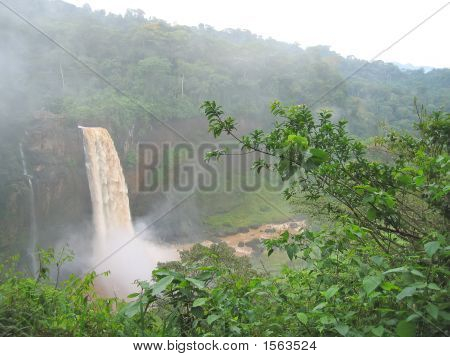 High Waterfall In The Tropical Jungle, Cameroon, Africa